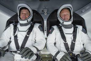 NASA astronauts Robert Behnken and Douglas Hurley participate in a SpaceX test of crew flight hardware