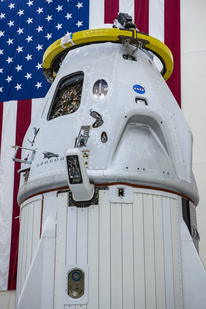 The SpaceX Crew Dragon trunk was secured to the spacecraft on Thursday, April 30, at Cape Canaveral Air Force Station, Florida, in preparation for launch of NASA's SpaceX Demo-2 mission.