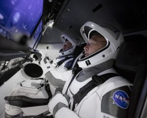 In March 2020, SpaceX teams in Firing Room 4 at NASA's Kennedy Space Center in Florida and the company's Mission Control in Hawthorne, California, along with NASA flight controllers in Mission Control Houston, executed a full simulation of launch and docking of the Crew Dragon spacecraft, with NASA astronauts Bob Behnken and Doug Hurley participating in SpaceX's flight simulator.