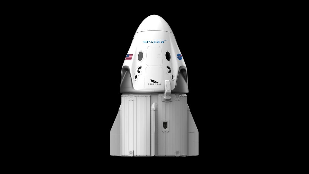 An illustration of the SpaceX Crew Dragon.