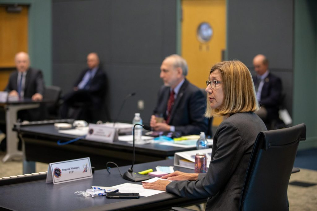 On May 21, 2020, inside the Operations Support Building II at NASA's Kennedy Space Center in Florida, Commercial Crew Program Manager Kathy Lueders participates in a flight readiness review for the upcoming Demo-2 launch.