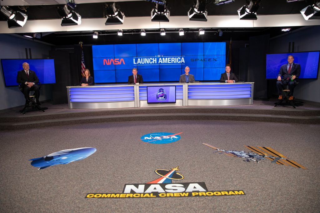 NASA and SpaceX managers conduct a news briefing on May 22, 2020, ahead of NASA's SpaceX Demo-2 launch.