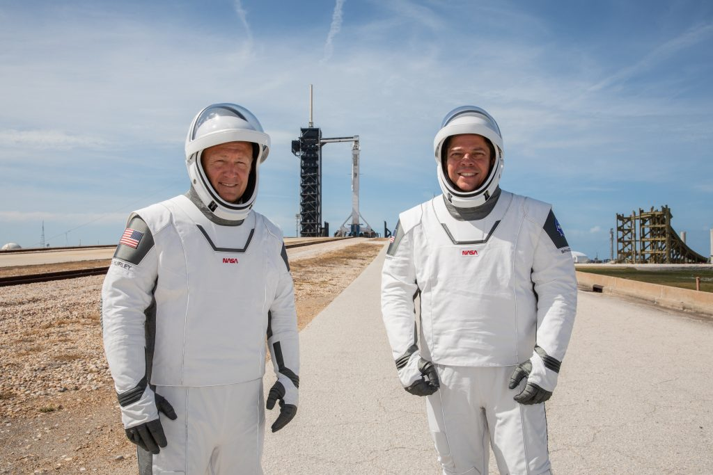 NASA astronauts Douglas Hurley (left) and Robert Behnken (right) participate in a dress rehearsal for launch at the agency's Kennedy Space Center in Florida on May 23, 2020, ahead of NASA's SpaceX Demo-2 mission to the International Space Station.