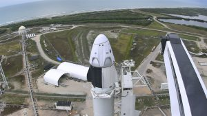 The SpaceX Falcon 9 and Crew Dragon spacecraft stand on Launch Complex 39A on May 27, 2020. Image credit: NASA TV