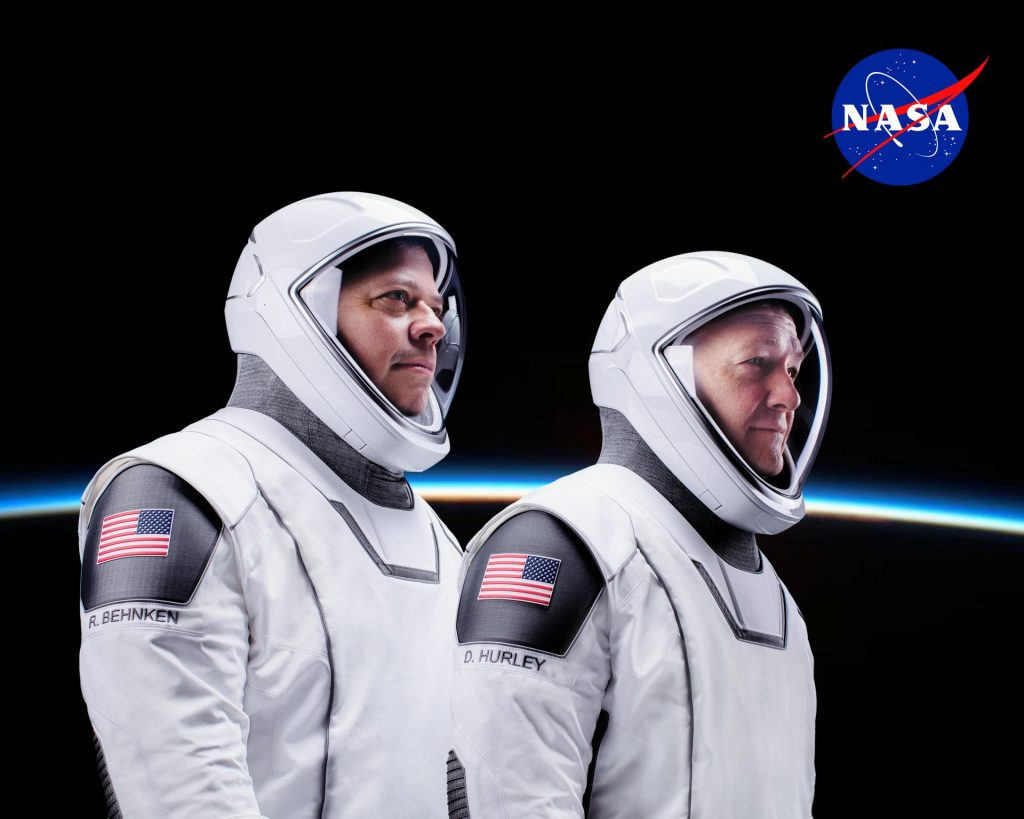 NASA astronauts Robert Behnken (left) and Doug Hurley will launch to the International Space Station on the Demo-2 mission – the crew flight test of SpaceX's Crew Dragon.