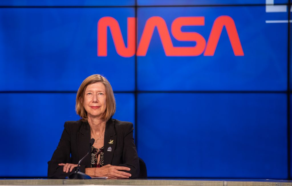 Kathy Lueders, participates in a postlaunch news conference inside the Press Site auditorium at the agency's Kennedy Space Center in Florida on May 30, 2020, following the launch of NASA's SpaceX Demo-2 mission to the International Space Station.