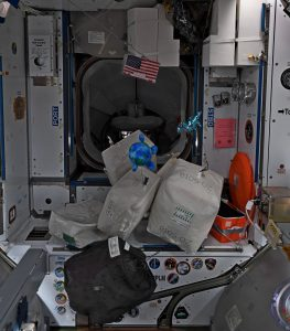 Photo of cargo bags packed and staged near the docking adapter connecting the space station to the SpaceX Crew Dragon.