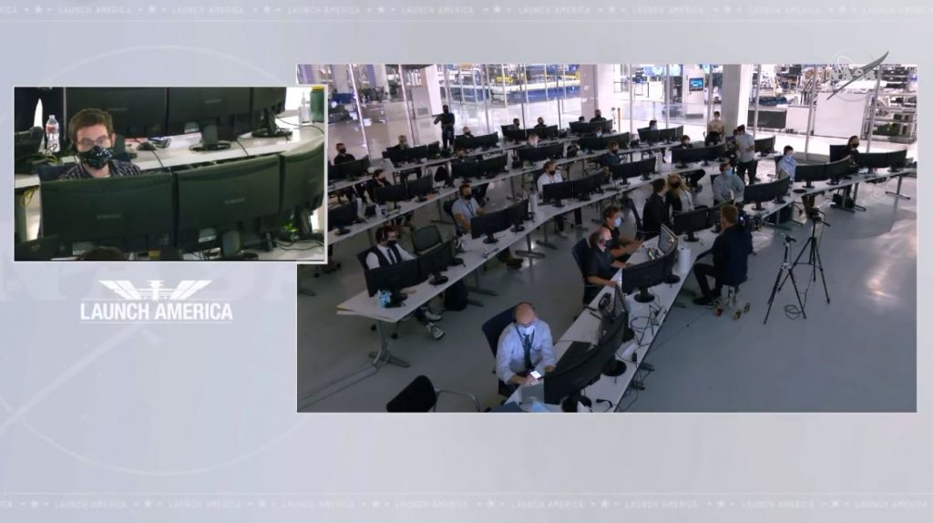 A view inside SpaceX Mission Control in Hawthorne, California.