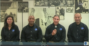 Shannon Walker, Victor Glover, Mike Hopkins, and Soichi Noguchi, NASA's SpaceX Crew-1 crew