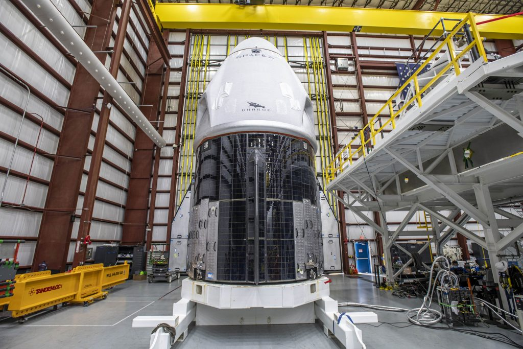 The SpaceX Crew Dragon spacecraft for NASA's SpaceX Crew-1 mission arrived at Kennedy Space Center's Launch Complex 39A on Thursday, Nov. 5, after making the trek from its processing facility at nearby Cape Canaveral Air Force Station in Florida.