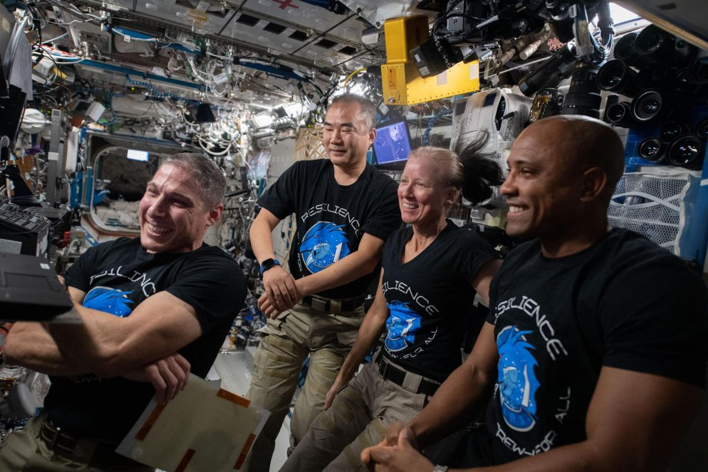 Crew-1 astronauts on the ISS