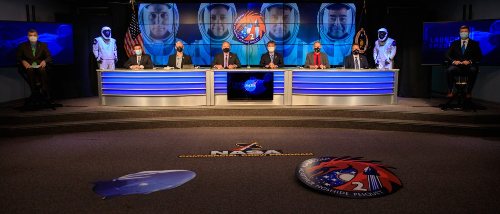 A SpaceX Crew-2 prelaunch news conference was held at NASA's Kennedy Space Center in Florida on April 20, 2021.