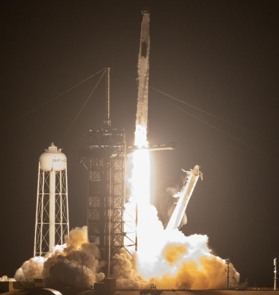 A SpaceX Falcon 9 rocket lifts off at 5:49 a.m. EDT from Launch Complex 39A at NASA's Kennedy Space Center in Florida on April 23, 2021, carrying the company's Crew Dragon Endeavour.