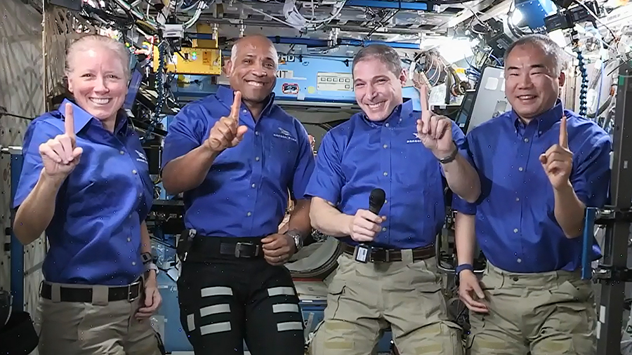 The SpaceX Crew-1 astronauts (from left) Shannon Walker, Victor Glover, Michael Hopkins and Soichi Noguchi are pictured shortly after commenting on their mission before returning to Earth this weekend. Credit: NASA TV