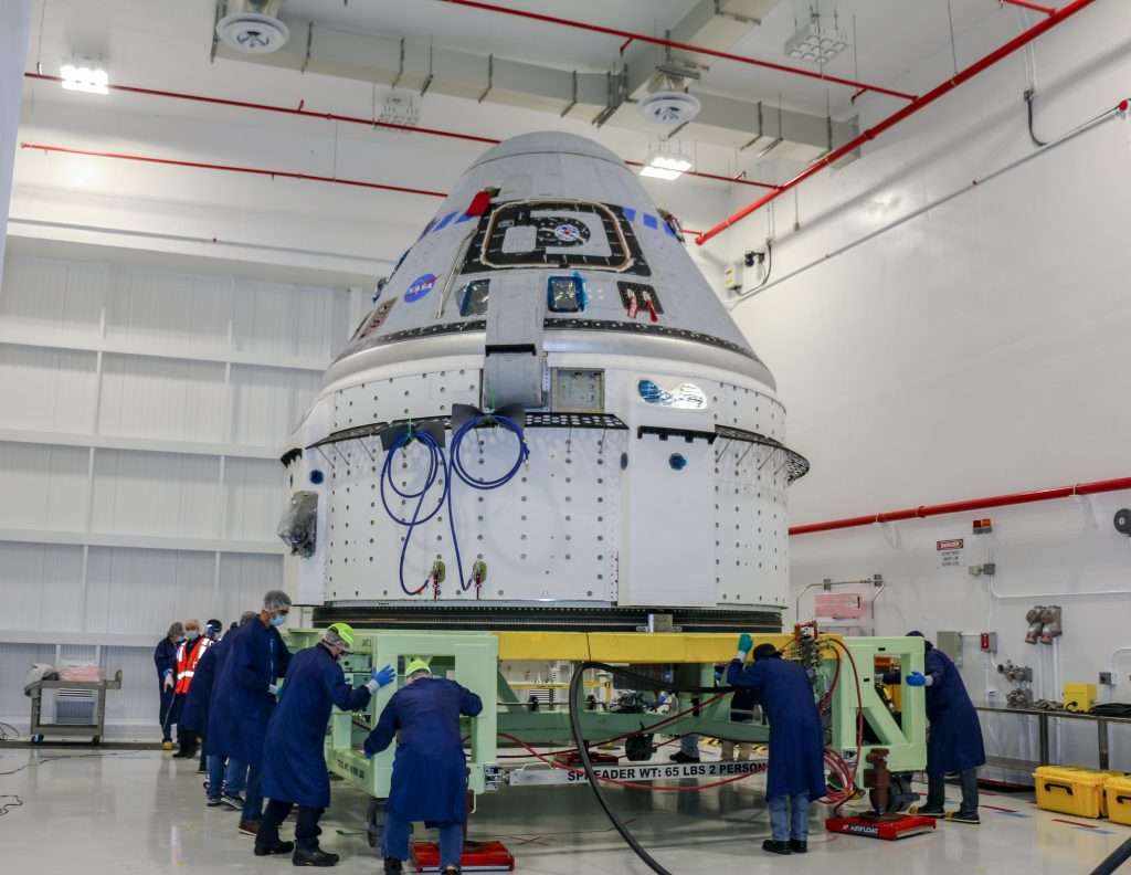 The Boeing CST-100 Starliner spacecraft to be flown on Orbital Flight Test-2 (OFT-2) is seen in the Commercial Crew and Cargo Processing Facility at NASA's Kennedy Space Center in Florida on June 2. Part of the agency's Commercial Crew Program, OFT-2 is a critical developmental milestone on the company's path to fly crew missions for NASA.