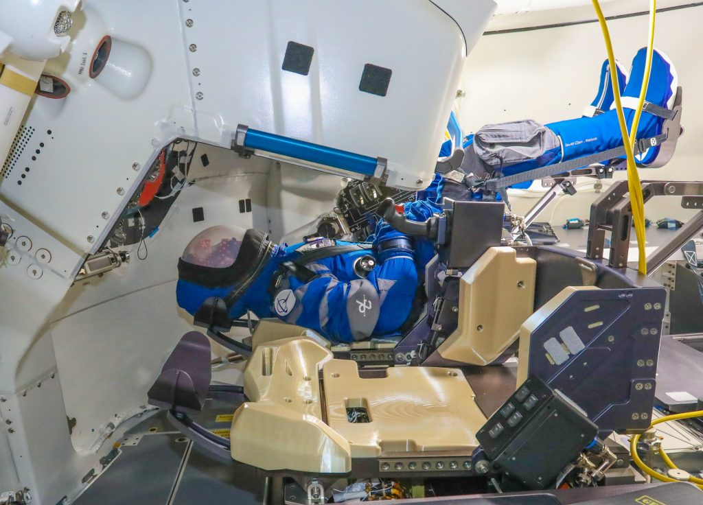 Rosie the Rocketeer, Boeing's anthropometric test device, claimed her spot once again in the commander's seat inside the company's CST-100 Starliner spacecraft for its second uncrewed Orbital Flight Test (OFT-2) for NASA's Commercial Crew Program.