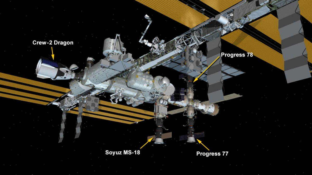 July 8, 2021: International Space Station Configuration. Four spaceships are docked at the space station including the SpaceX Crew Dragon and Russia's Soyuz MS-18 crew ship and ISS Progress 77 and 78 resupply ships.