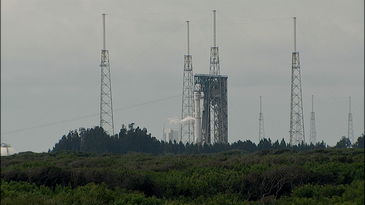 The United Launch Alliance Atlas V rocket with Boeing's CST-100 Starliner atop is on the pad at Space Launch Complex-41 on Aug. 3, 2021.