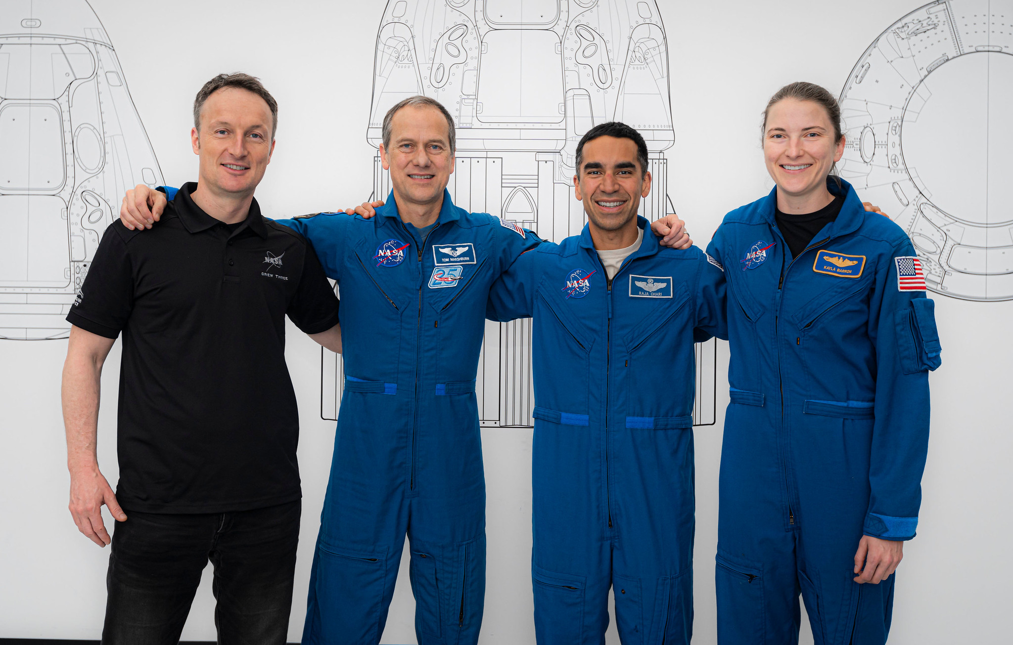 SpaceX Crew-3 astronauts (from left) Matthias Maurer, Thomas Marshburn, Raja Chari and Kayla Barron pose for a portrait during preflight training at SpaceX headquarters in Hawthorne, California.
