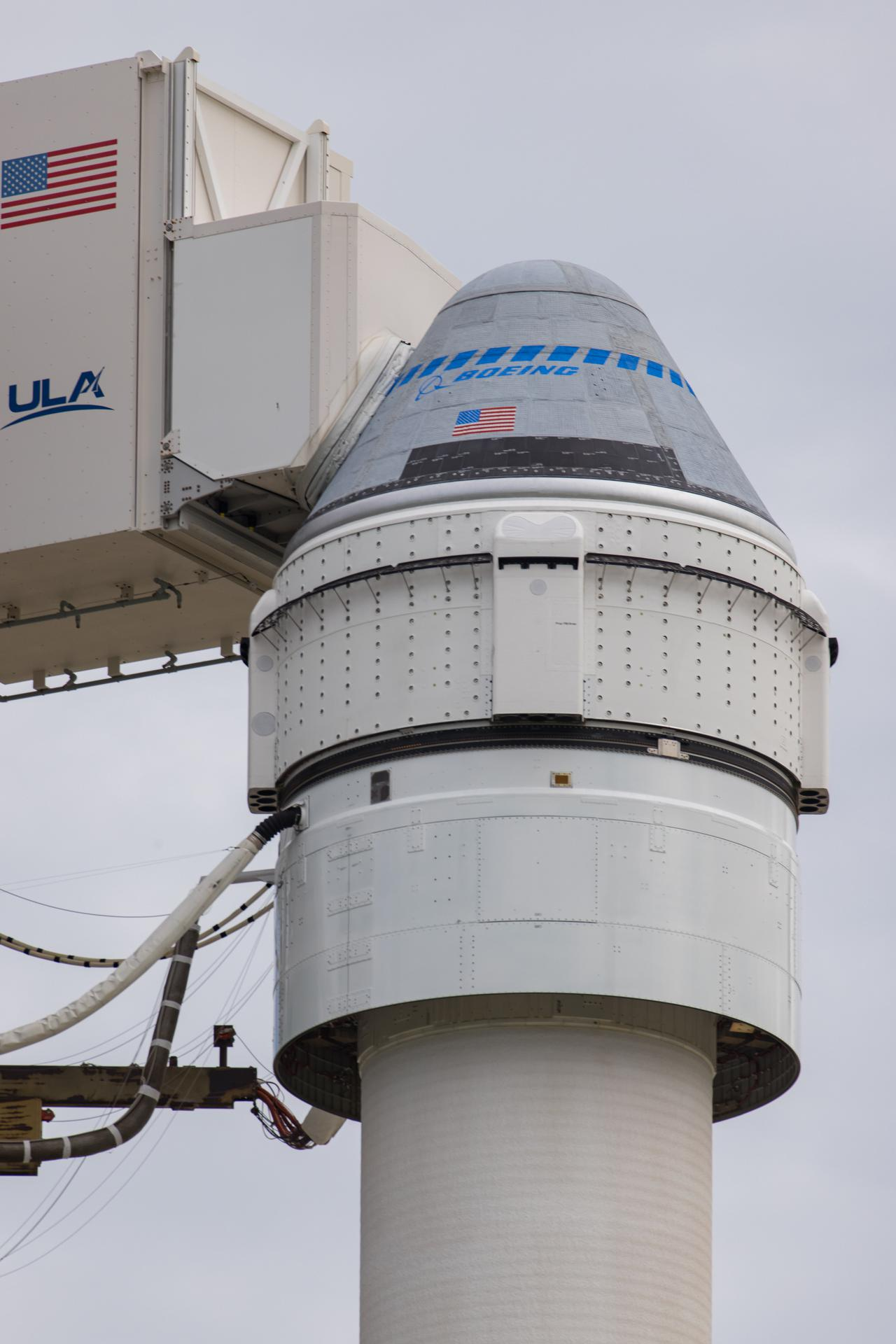 Boeing's CST-100 Starliner spacecraft sits atop a United Launch Alliance Atlas V rocket on Cape Canaveral Space Force Station in Florida.