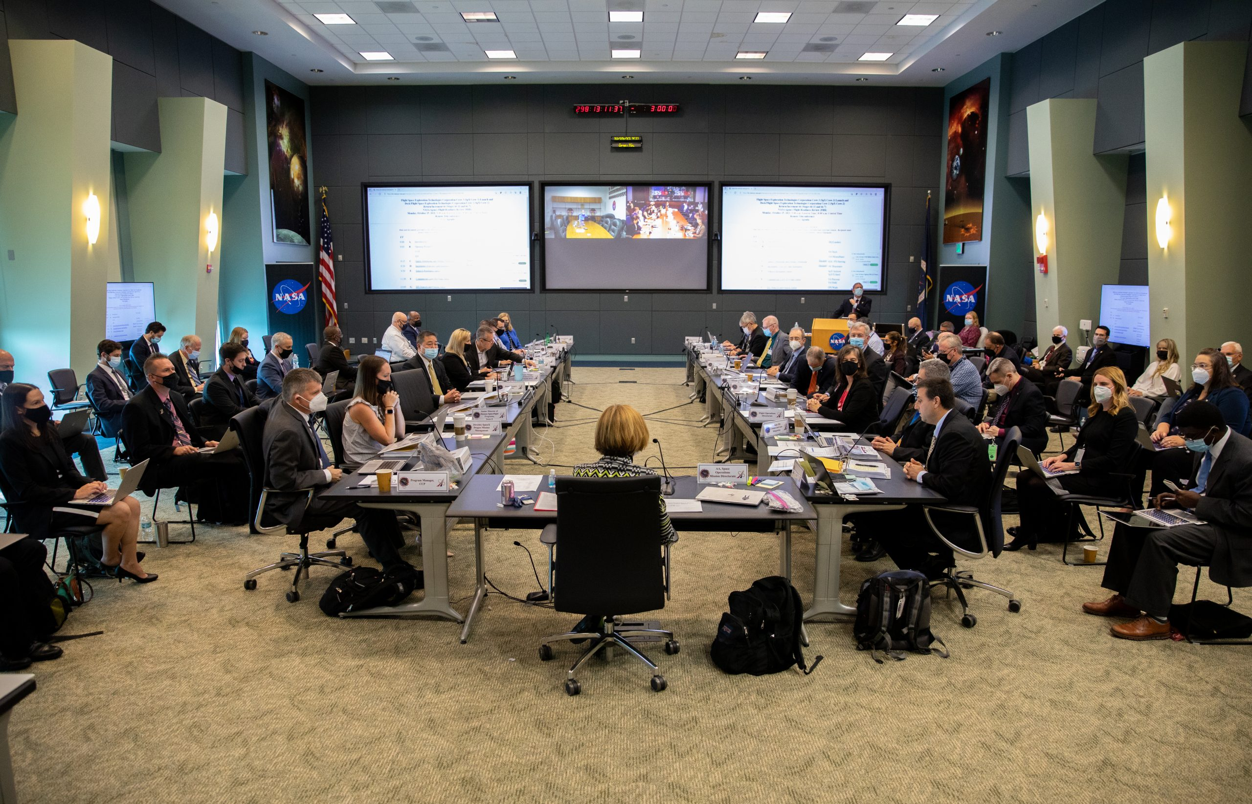 NASA and SpaceX managers participate in a Flight Readiness Review for the agency's SpaceX Crew-3 mission at Kennedy Space Center in Florida on Oct. 25, 2021.