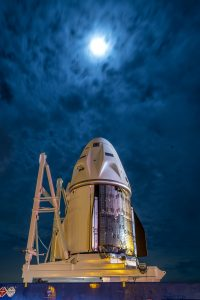 SpaceX's Crew Dragon capsule arrives at the hangar at Kennedy Space Center's Launch Complex 39A in Florida on Oct. 24, 2021.