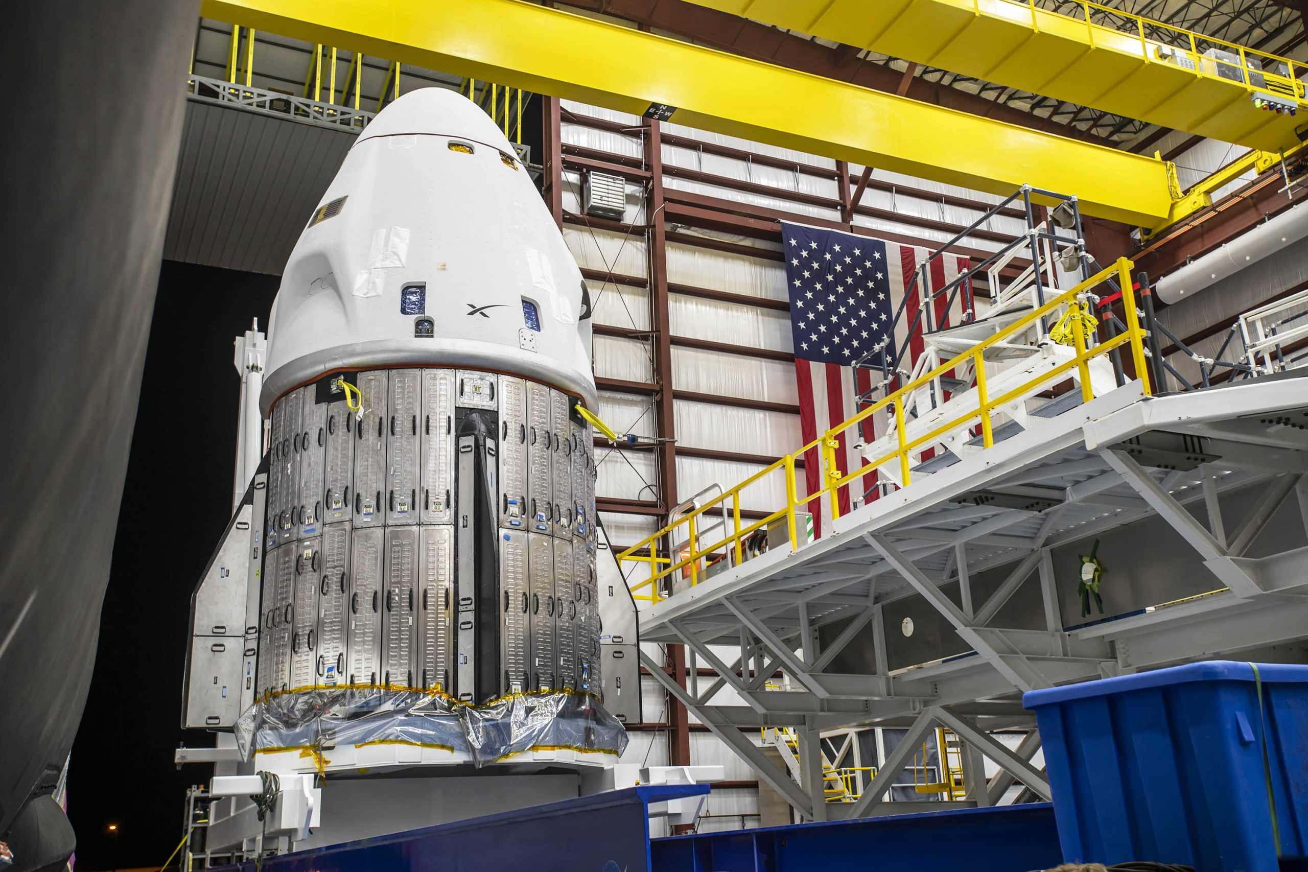 SpaceX's Crew Dragon spacecraft arrives at the hangar at Launch Complex 39A on Oct. 24, 2021.