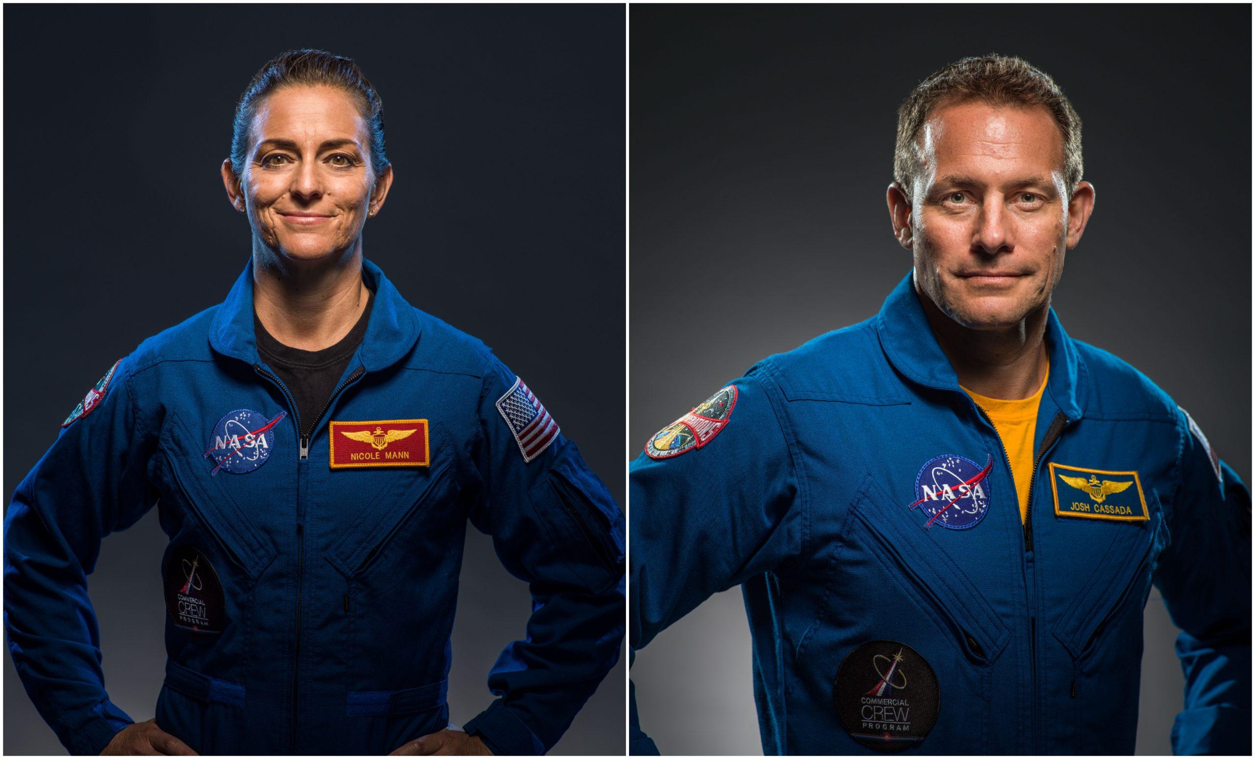 NASA astronauts Nicole Mann, left, and Josh Cassada, right.
