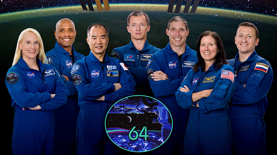 The expanded seven-member Expedition 64 crew with Flight Engineers Kate Rubins, Victor Glover and Soichi Noguchi, Commander Sergey Ryzhikov and Flight Engineers Michael Hopkins, Shannon Walker and Sergey Kud-Sverchkov.