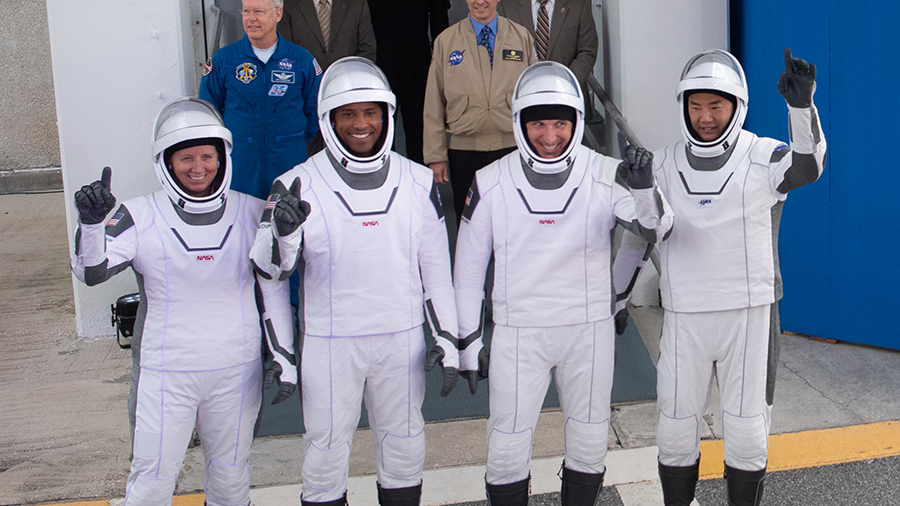 Commercial Crew astronauts (from left) Shannon Walker, Victor Glover, Mike Hopkins and Soichi Noguchi walk out to the launch pad before beginning the SpaceX Crew-1 mission on Nov. 15, 2020.