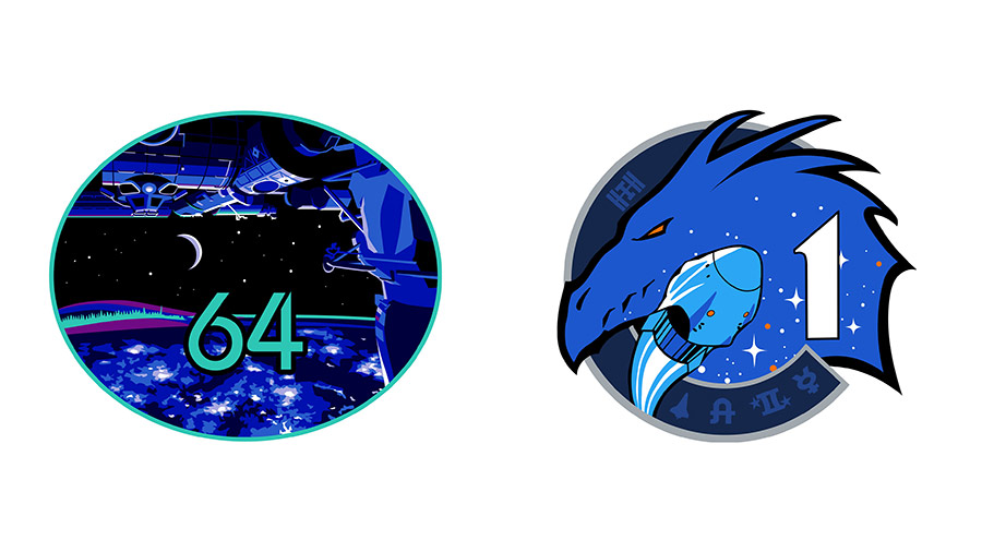 The insignias of the Expedition 64 and SpaceX Crew-1 missions.