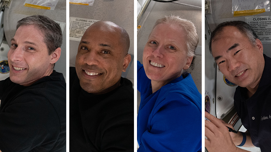 From left, are the SpaceX Crew-1 astronauts Michael Hopkins, Victor Glover, Shannon Walker and Soichi Noguchi.