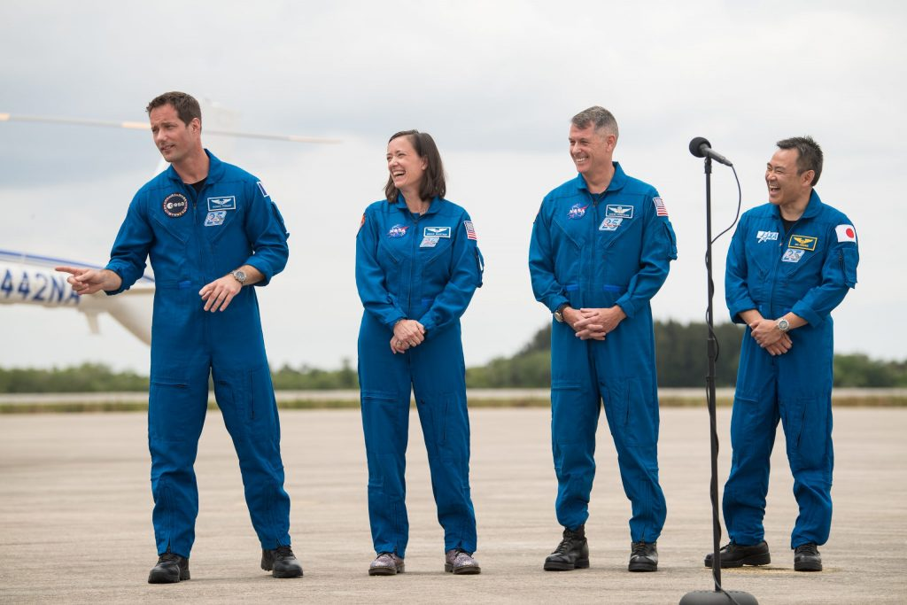 Crew-2 astronauts arrive at Kennedy Space Center's Launch and Landing Facility on April 16, 2021.