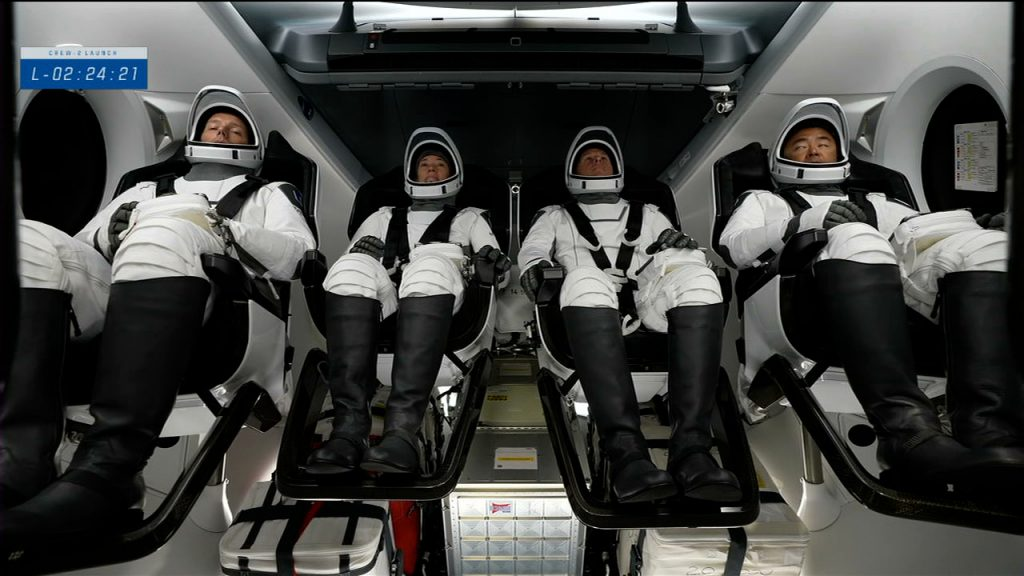 The Crew-2 astronauts are in view inside the Crew Dragon spacecraft at Launch Complex 39A at NASA's Kennedy Space Center in Florida on April 23, 2021.
