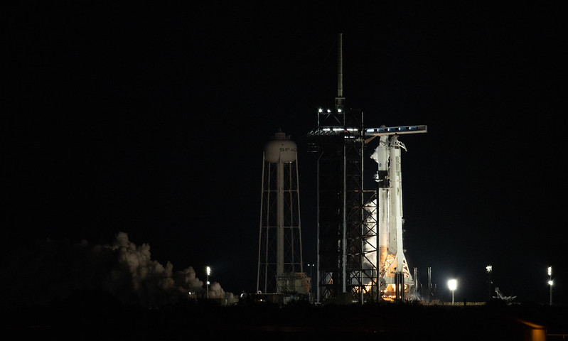 A SpaceX Falcon 9 rocket with the company's Crew Dragon spacecraft onboard is seen on the launch pad at Launch Complex 39A during a brief static fire test ahead of NASA's SpaceX Crew-2 mission, Saturday, April 17, 2021, at NASA's Kennedy Space Center in Florida.