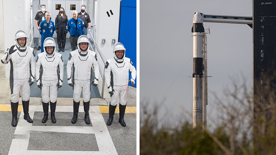 The four SpaceX Crew-2 astronauts are pictured during a dress rehearsal at Kennedy Space Center. The Crew Dragon vehicle is atop the Falcon 9 rocket at the launchpad.