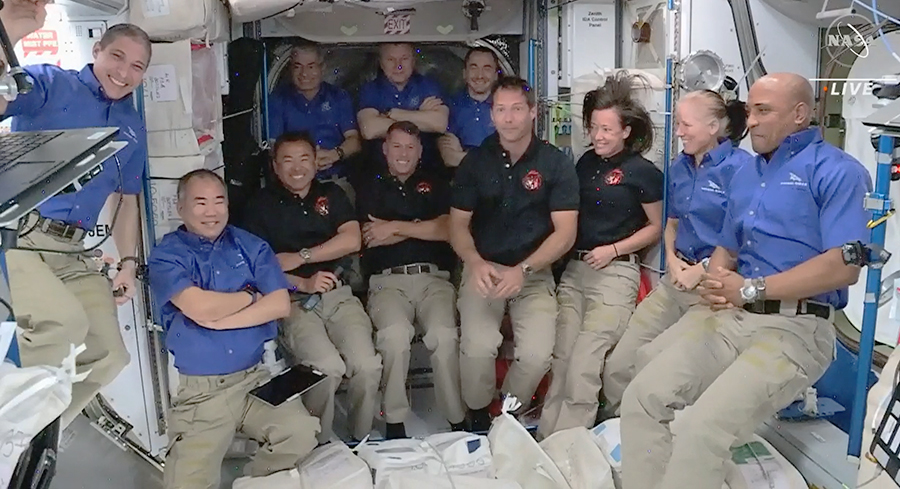 The four new SpaceX Crew-2 astronauts joined the Expedition 65 crew today bringing the station population to 11. Credit: NASA TV