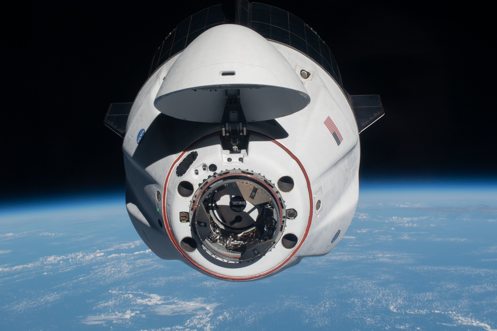The SpaceX Crew Dragon Endeavour approaches the International Space Station