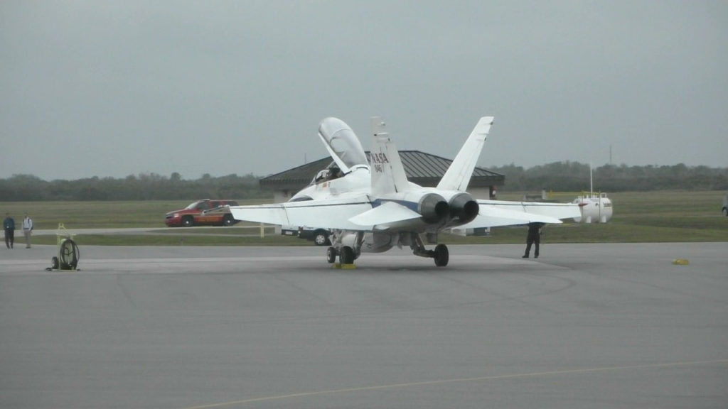F-18 chase plane awaiting clearance to taxi
