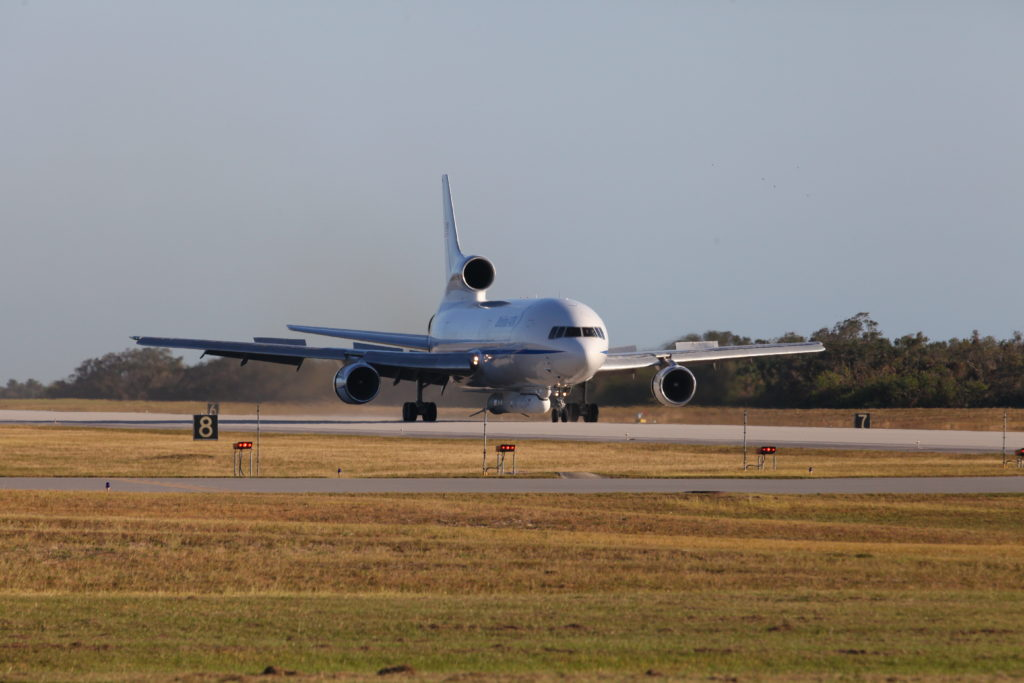 Orbital ATK Stargazer aircraft arrives at the Skid Strip at Cape Canaveral Air Force Station in Florida.