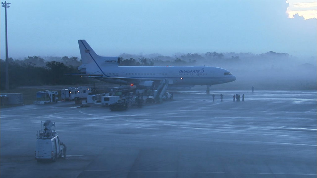 Fog is visible in this image of the L-1011 aircraft. Credit: NASA Television