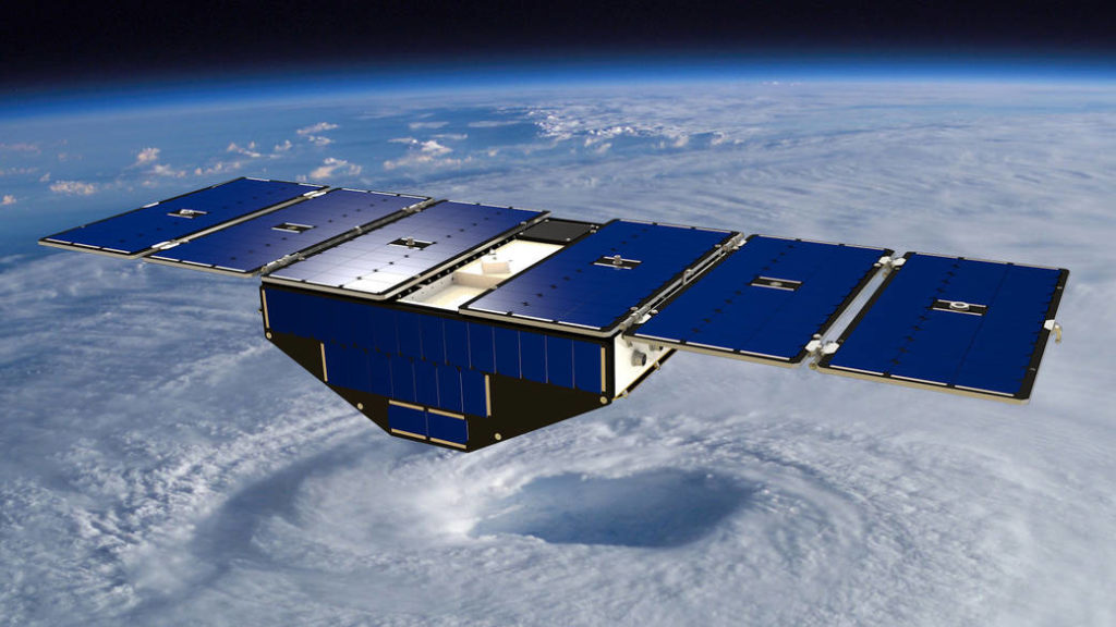Artist concept of a CYGNSS observatory in orbit.