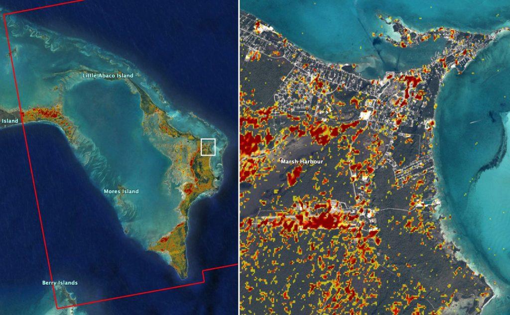 Mapping Dorian's Damage to the Bahamas – NASA Disaster Response on world map bahamas, eleuthera bahamas, map of the abaco islands, cat island bahamas, elbow island bahamas, arial maps of abaco bahamas, map all caribbean islands, harbour island bahamas, map of abaco with distances, road map of abaco bahamas, map of southern caribbean islands, map showing bahamas, andros island bahamas, crooked island bahamas, great iguana island bahamas, sea of abaco bahamas, grand lucayan bahamas, map of marsh harbour abaco, map of scrub island british virgin islands, nautical map of abaco bahamas,