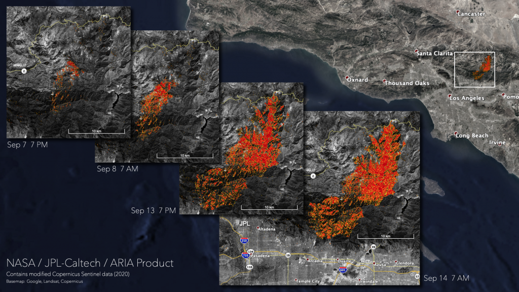 A damage assessment map showing areas in Angeles National Forest that were likely damaged from the Bobcat Fire on September 7th, 8th, 13th, and 14th. Credits: Alaska Satellite Facility, NASA-JPL/Caltech, European Space Agency, NASA Earth Applied Sciences Disasters Program.