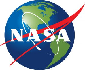 NASA logo with the blue circle replaced with Earth