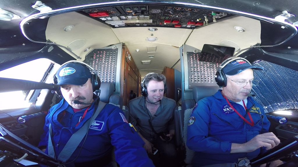 Scientist and pilots aboard NASA's Gulfstream-III aircraft.