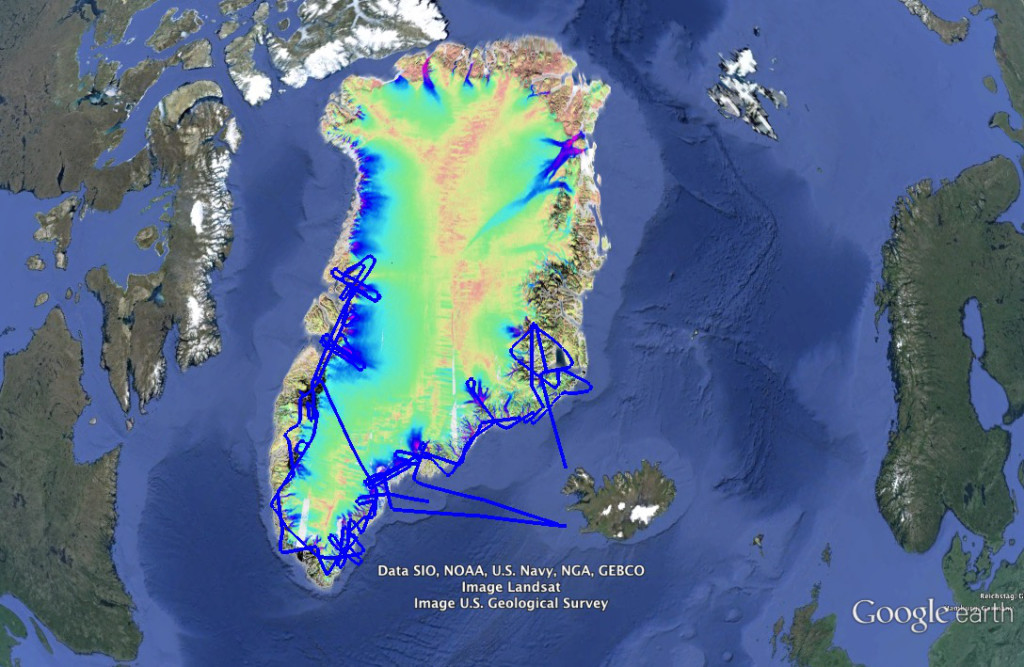 Map showing Greenland's glacier movement.