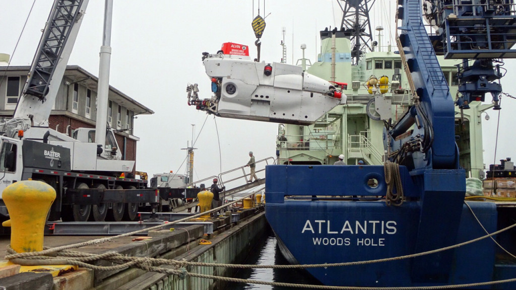 The research vessel Atlantis in port during the off-load of the submersible Alvin as the ship prepares for its second NAAMES field campaign. Credit: Dick Pittenger/WHOI