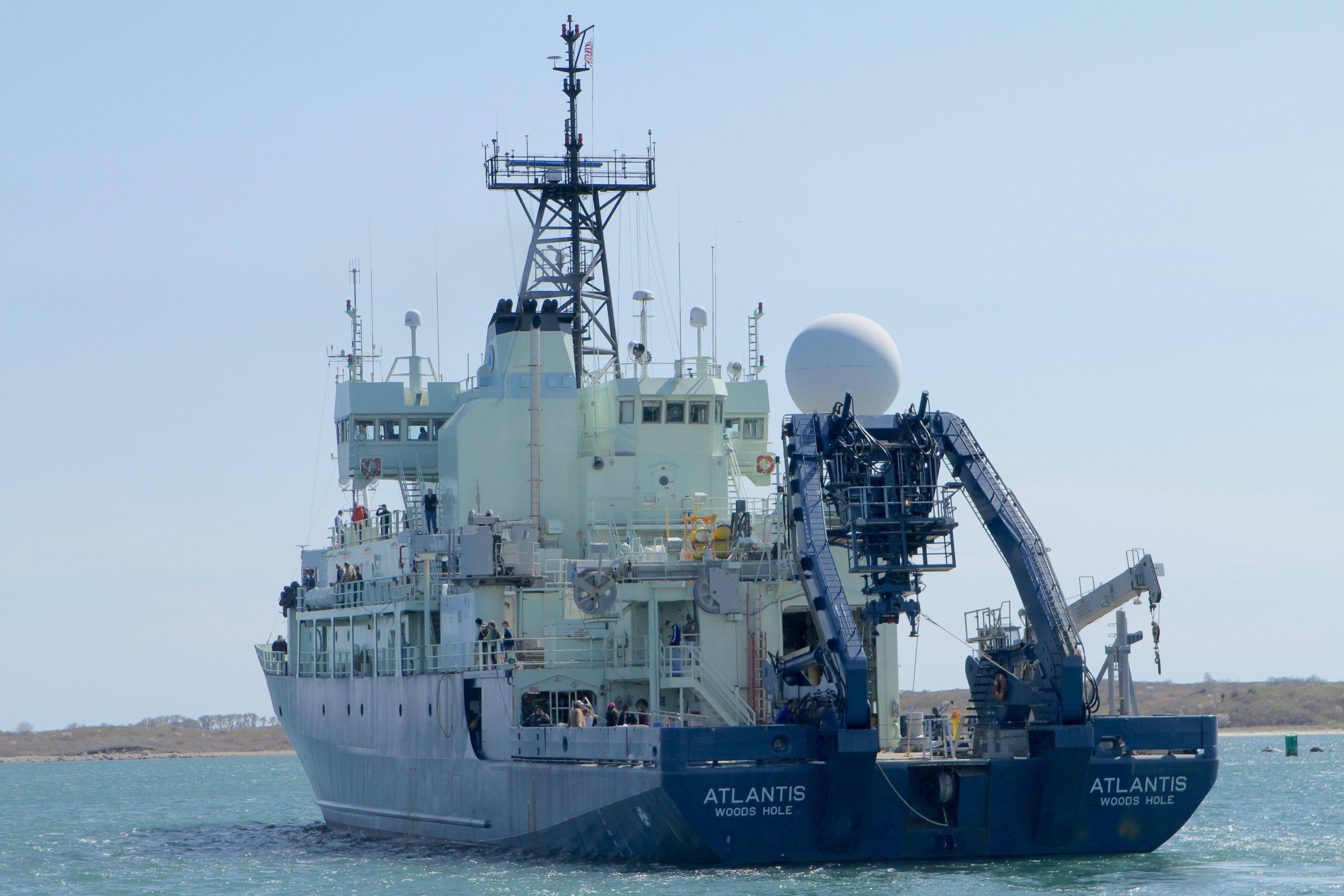 R/V Atlantis steaming away from Woods Hole on Wednesday, headed to the North Atlantic. Credit: Michael Starobin/NASA
