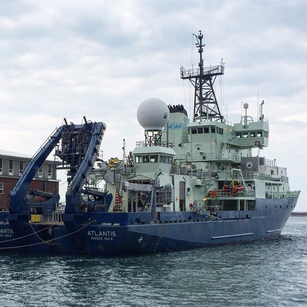 The research vessel Atlantis in port. Credit: Michael Starobin/NASA